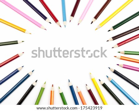 Multicolored pencils set isolated on white background with space for your text #175423919