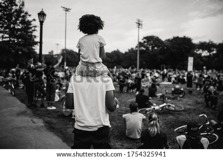 Washington D.C./USA- June 7th 2020: Black Lives Matter protesters gathered down 16thSt NW and Black Lives Matter Plaza. #1754325941