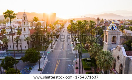 Sunset aerial view of historic downtown Riverside, California. Royalty-Free Stock Photo #1754371637