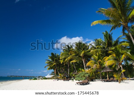 Tropical beach with boat and palms, Mauritius #175445678