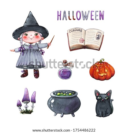 hand drawn watercolor clipart halloween set of little witch girl with magic wand, book, jack-o'-lantern, potion in cauldron with black cat and mushrooms isolated on white- concept of oktober holidays