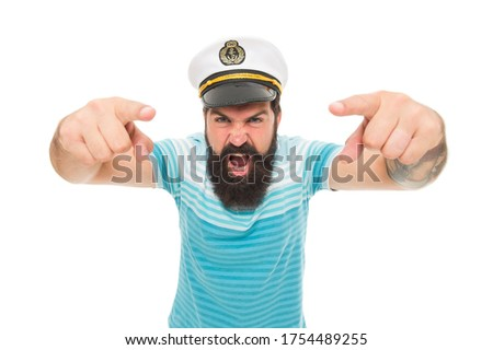 Hey you. Sailor spirit. Bearded sailor pointing camera isolated on white. Sailor or seaman with long beard and mustache. Work as sailor. Professional mariner. Navy and marine. Sea adventures concept. #1754489255