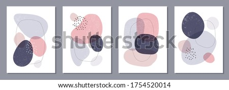 Set of minimal posters with abstract organic shapes composition in trendy contemporary collage style, can be used for wall decoration, postcard, cover design Royalty-Free Stock Photo #1754520014