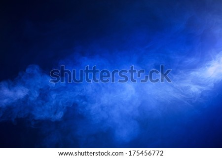 Hazy, Swirling, Blue Smoke on Black Background Royalty-Free Stock Photo #175456772