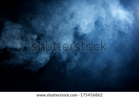 Fluffy Puffs of Smoke and Fog on Black Background Royalty-Free Stock Photo #175456862