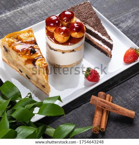 Beautiful chocolate cakes, desserts close up Royalty-Free Stock Photo #1754643248