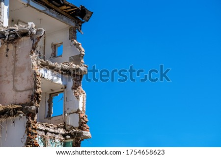 house is demolished to make room for new construction Royalty-Free Stock Photo #1754658623