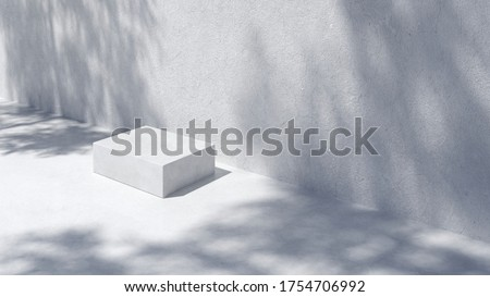 Podium for packaging presentation and cosmetic.  Product display with white concrete texture and shadow on, stone texture, Natural beauty pedestal in sunlight. realistic 3d rendering. 3d illustration. #1754706992