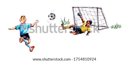 watercolor illustration.children's football. Athlete Football Goalkeeper Blocking The Football World Cup. Football Match People Set Up A Competition. isolated on a white background.