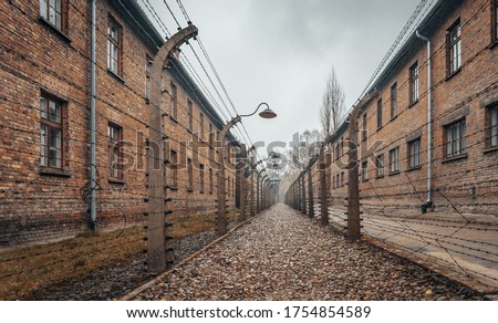 An amazing shot of the Auschwitz concentration camp in Poland-perfect for old prison, death camp concepts Royalty-Free Stock Photo #1754854589