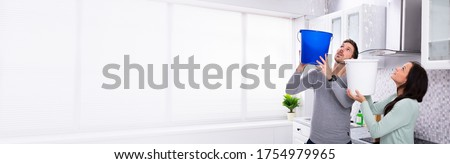 Water Leaking House. Ceiling Flood And Leak Damage Royalty-Free Stock Photo #1754979965