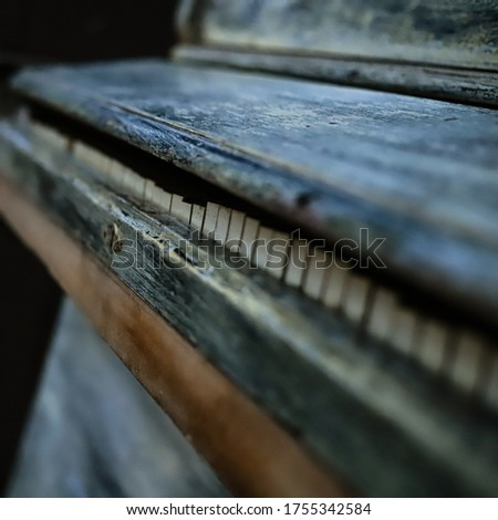 vintage piano blue and green close up