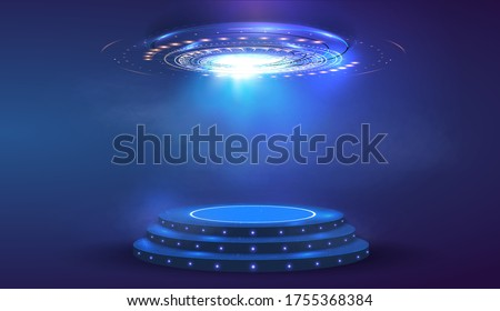 Circle abstract digital technology UI futuristic HUD Virtual Interface. Stage futuristic  podium in fog. Empty futuristic pedestal for award ceremony, platform illuminated by spotlights, stage. Vector Royalty-Free Stock Photo #1755368384
