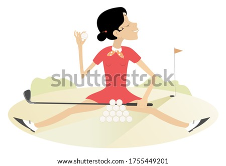 Smiling young woman recreates on the golf course illustration. Pretty young woman sits on the grass in front of a pile of golf balls and holds a golf ball and golf club