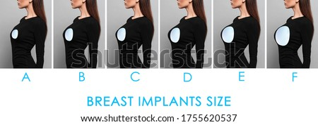 Collage with photos of woman demonstrating different implant sizes for breast on color background, closeup. Banner design