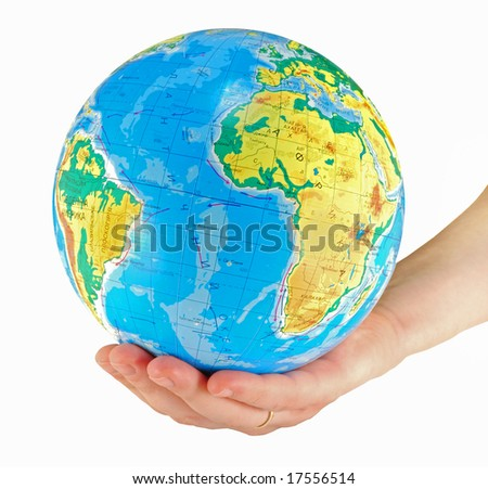 image of earth in woman's nand #17556514