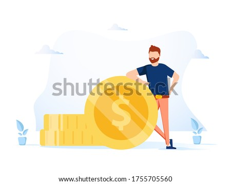 Business investment and money savings clipart. Fees and funding metaphors. Isolated metaphor illustrations. Business illustration on white background. Businessman successful financial profit.