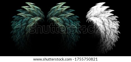 3d illustration wing feathers of fantasy creatures with clipping mask