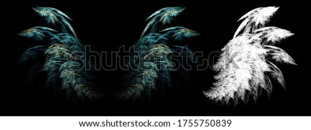 3d illustration abstract wings of ancient mystical birds with clipping mask