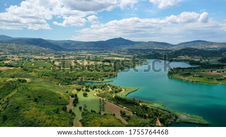 Aerial drone panoramic photo of beautiful nature in artificial lake and dam of Marathonas or Marathon that feeds drinking water supply to Athens, Attica, Greece