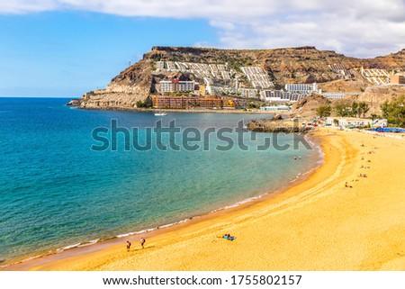 Picturesque Tauro beach (Spanish: Playa de Tauro) near the Puerto Rico de Gran Canaria holiday resort on Gran Canaria island, Spain Royalty-Free Stock Photo #1755802157