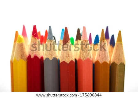 Colored pencils on white  background #175600844