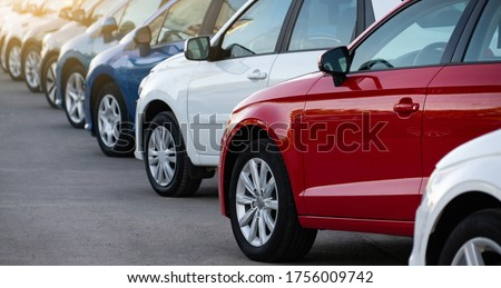 Cars in a row. Used car sales Royalty-Free Stock Photo #1756009742