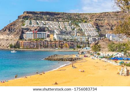Picturesque Tauro beach (Spanish: Playa de Tauro) near the Puerto Rico de Gran Canaria holiday resort on Gran Canaria island, Spain Royalty-Free Stock Photo #1756083734