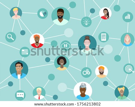 Corporate team working remotely online on project. Business web communication vector seamless pattern. Diverse employees work together, international network, virtual office, freelance project group. Royalty-Free Stock Photo #1756213802