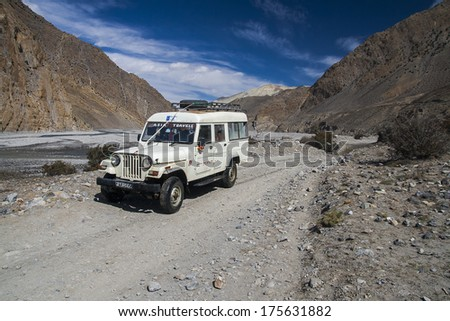 JOMSOM, NEPAL - CIRCA NOVEMBER 2013: Jeep is the primary means of transport in the village of Jomsom circa November 2013 in Jomsom. #175631882