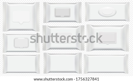 Wet wipes package. Antibacterial wipe plastic pack template isolated set. Blank white box top view for wet toilet tissue. Cosmetic foil bag mockup on tranparent background #1756327841