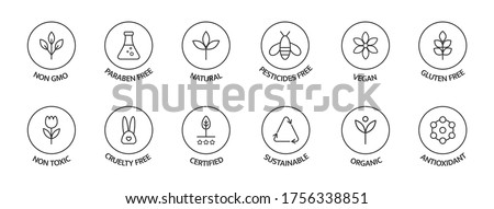 Organic cosmetic labels set. Product free allergen line icons. GMO free emblems. Organic stickers. Natural products badges. Healthy eating. Vegan, bio food. Vector illustration. Royalty-Free Stock Photo #1756338851