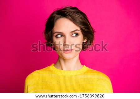 Close-up portrait of her she nice-looking attractive lovely pretty cute curious cheery girl thinking isolated on bright vivid shine vibrant pink fuchsia color background Royalty-Free Stock Photo #1756399820