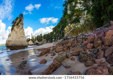 Tidal wave in Cathedral Cove. Huge boulders and rocks on a sandy beach. The New Zealand, North Island. Photo taken with fisheye lens. The concept of exotic, ecological and photo tourism