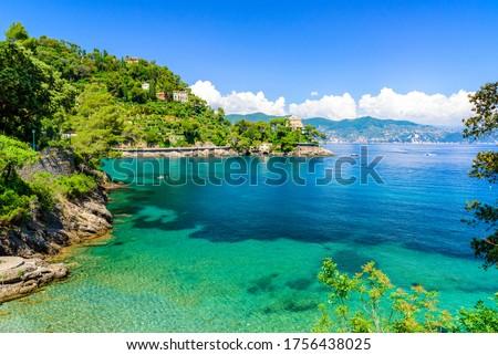 Bay of Paraggi in Santa Margherita Ligure with paradise white beach, close to Portofino. Mediterranean sea of Italy. Royalty-Free Stock Photo #1756438025