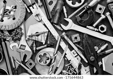 Building and measuring tools Royalty-Free Stock Photo #175644863