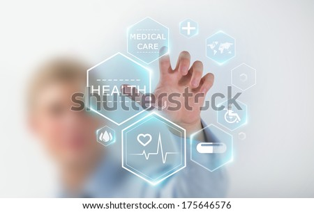 Medicine doctor hand working with modern medical icons