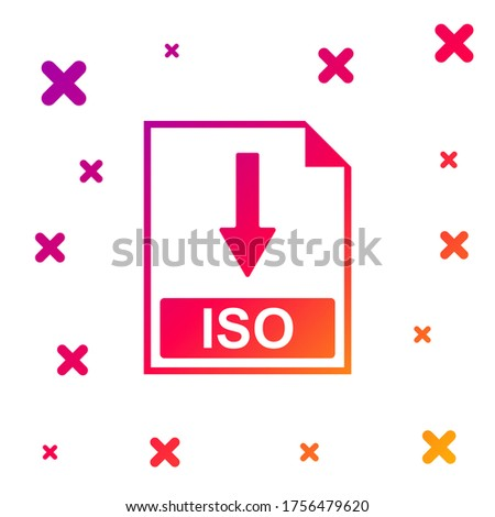 Color ISO file document icon. Download ISO button icon isolated on white background. Gradient random dynamic shapes