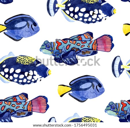 Watercolor seamless pattern with wild exotic fish. Hand drawn objects on white background. Underwater life. For wrapping, fabric, wallpaper.