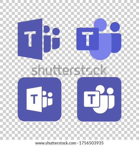 Microsoft Teams logo,remote working application symbol,Microsoft Teams icon set.Microsoft Teams, also referred to as simply Teams. Royalty-Free Stock Photo #1756503935