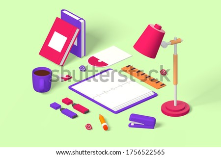 Table lamp and stationery illustration. Reading-lamp, notebook, markers, pencil, stapler, flash drive, clips and disk on desk flat style design. Isolated on green background