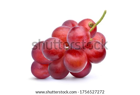 Bunch of Red grape isolated on white background.
