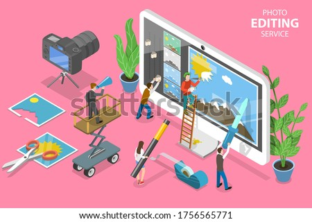 3D Isometric Flat Vector Concept of Photo Editing Online Service, Professional Graphic Design Software.