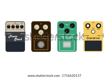 Beginner electric guitar effect set That is popular among musicians Equipment in the recording room, studio, audio conversion equipment illustration for business. Isolated on white with clipping path.