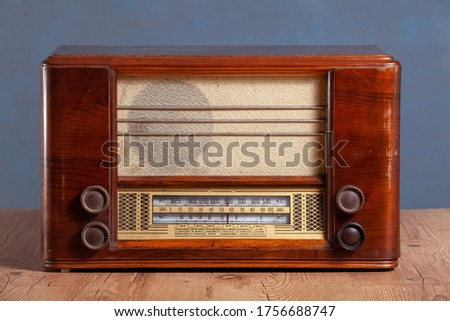 vintage wooden radio in front of a textured background #1756688747