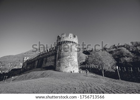 Black and white picture of a Old castle in Europe