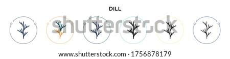 Dill icon in filled, thin line, outline and stroke style. Vector illustration of two colored and black dill vector icons designs can be used for mobile, ui, web Royalty-Free Stock Photo #1756878179