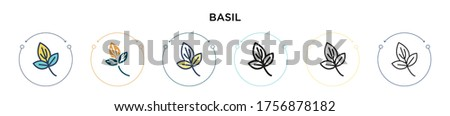 Basil icon in filled, thin line, outline and stroke style. Vector illustration of two colored and black basil vector icons designs can be used for mobile, ui, web #1756878182