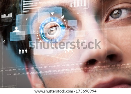 Futuristic modern cyber man with technology screen eye panel concept #175690994