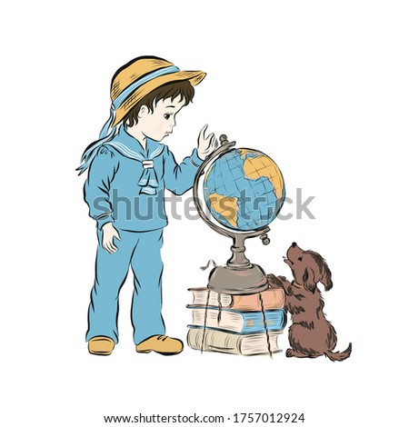 Boy with dog study model of the globe standing on the stack of books. Schoolboy dressed in sailor suit and straw hat. Retro clip art.
